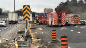 Vehicles involved in a collision in the WB collector lanes on Hwy. 401 are shown on Saturday morning. (Sgt. Kerry Schmidt/OPP)