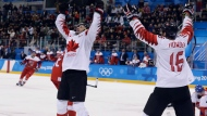 Wojtek Wolski (8), of Canada, celebrates after scoring a goal against he Czech Republic during the third period of the men's bronze medal hockey game at the 2018 Winter Olympics in Gangneung, South Korea, Saturday, Feb. 24, 2018.(AP Photo/Matt Slocum)