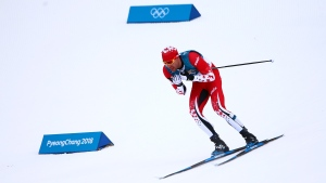 Alex Harvey of Canada takes part in the Men's 15km + 15km Skiathlon during the PyeongChang 2018 Olympic Winter Games in PyeongChang, South Korea on February 11, 2018. (THE CANADIAN PRESS/HO-COC/Vaughn Ridley)
