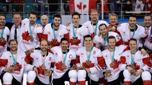 Canadians celebrate their win following third period men's hockey bronze medal game action against Czech Republic at the 2018 Olympic Winter Games, in Pyeongchang, South Korea, on Saturday, February 24, 2018. THE CANADIAN PRESS/Nathan Denette