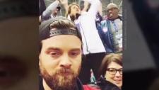 Michael Tobin filmed his reaction after Team U.S.A. scored in Pyeongchang, South Korea