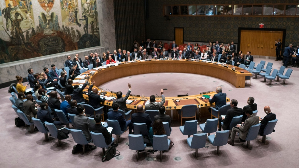 Members of the United Nations Security Council vote on a resolution demanding a 30-day humanitarian cease-fire across Syria, Saturday, Feb. 24, 2018 at United Nations headquarters. (AP Photo / Craig Ruttle)