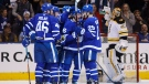 The Toronto Maple Leafs celebrate a goal during first period NHL hockey action against the Boston Bruins in Toronto on Saturday, February 24, 2018. THE CANADIAN PRESS/Cole Burston