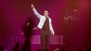 Jacob Hoggard, frontman for the rock group Hedley, performs during the band's concert in Halifax on Feb. 23, 2018. THE CANADIAN PRESS/Darren Calabrese