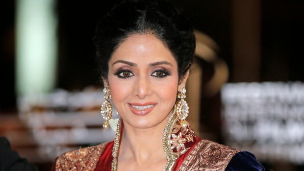 FILE - In this Dec. 1, 2012 file photo, Indian actress Sridevi arrives at the Marrakech International Film Festival in Marrakech, at the Marrakech Congress Palace. (AP Photo/Lionel Cironneau, File)