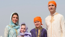 Prime Minister Justin Trudeau wife Sophie Gregoire Trudeau, and children, Xavier, 10, Ella-Grace, 9, visit the Golden Temple in Amritsar, India on Wednesday, Feb. 21, 2018. THE CANADIAN PRESS/Sean Kilpatrick
