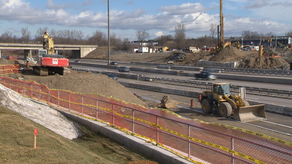 The gap where the Victoria Street Bridge once stood is seen in this photo on Feb. 25, 2018 (CTV Kitchener)