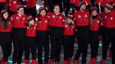 Canadian athletes walk into the Olympic stadium during the closing ceremonies at the 2018 Pyeongchang Olympic Winter Games in Pyeongchang, South Korea, on Sunday, February 25, 2018. THE CANADIAN PRESS/Nathan Denette