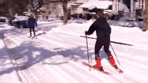 Vancouverites ski through the streets