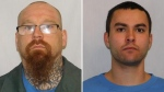 Dale Jacob Gilchrist (left) and William Benjamin Hunter-Garrioch (right) escaped from Stony Mountain Institution in Stony Mountain, Man. on Feb. 24. (Correctional Service Canada)