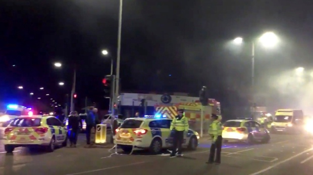 Image result for A strong explosion in Leicester, the British police on the ground