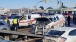 Four vehicles were involved in the crash, the spokesperson said. (Source: Daniel Timmerman/CTV News)
