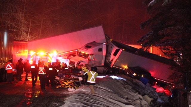 The aftermath of crash involving semi-trucks, a passenger bus and several cars is seen on Sunday, Feb. 25, 2018. (CTV Vancouver)