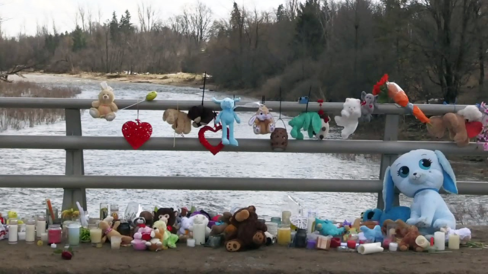 Stuffed animals and other items were left near the spot where Kaden Young vanished into the Grand River.