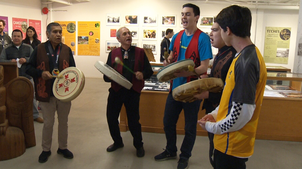 Members of the Songhees First Nation perform after announcing a partnership with Greater Victoria to bid on the 2020 North American Indigenous Games. Feb. 26, 2018. (CTV Vancouver Island)