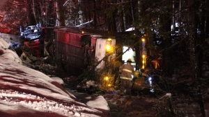 A major pileup on B.C.'s Coquihalla Highway involving semi-trucks, Greyhound buses and passenger vehicles sent 29 people to hospital in conditions ranging from stable to critical Sunday night. (Shane MacKichan)