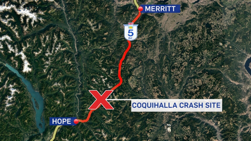 The site of a major pileup on the Coquihalla Highway Sunday is seen on this map.