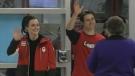 Tessa Virtue and Scott Moir arrive at London International Airport.