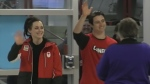Tessa Virtue and Scott Moir arrive at London International Airport.
