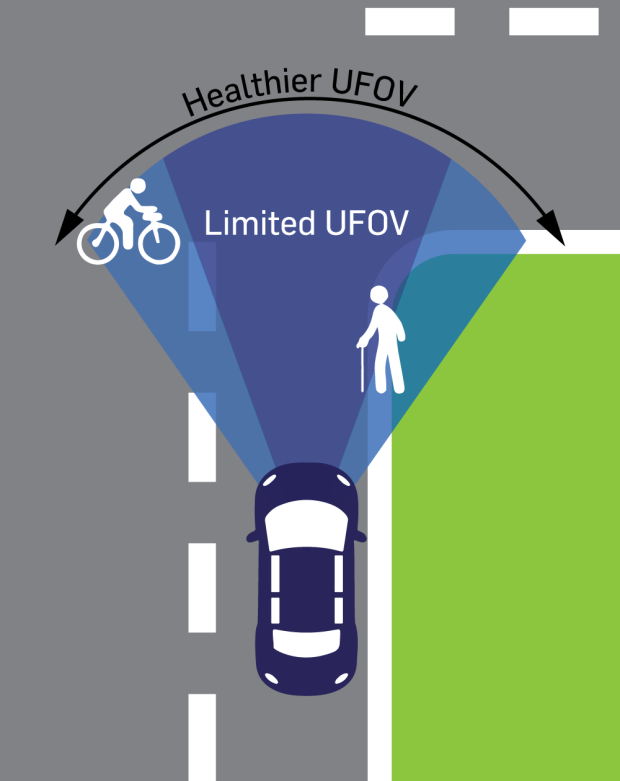 Graphic showing useful field of view, or UFOV