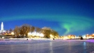 Northern lights over The Forks on Monday night. Photo by Jeff Vernaus.