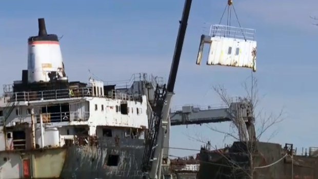 Abandoned Ship In Beauharnois Is Being Torn Apart Piece