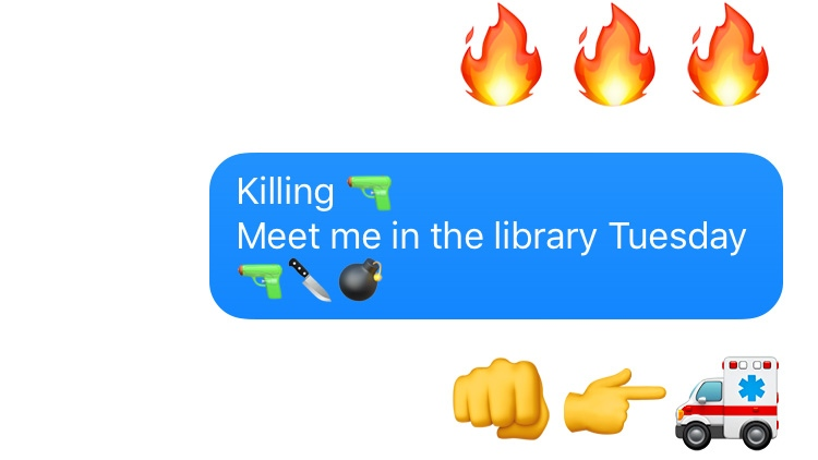 This image created using Apple's iMessage app shows three flame emojis, followed by two potentially threatening text messages using emojis.