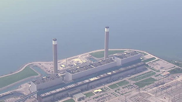 Two chimney stacks at the Nanticoke generating station will be demolished today.