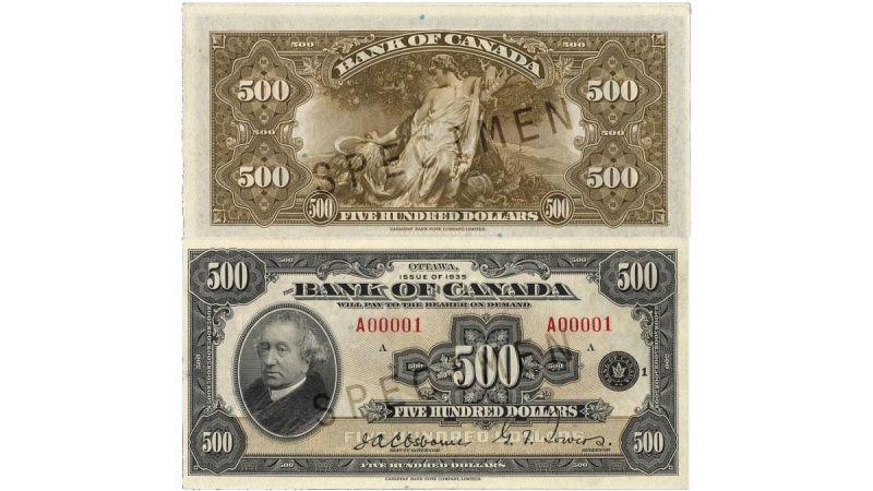 A $500 bill is shown in this image from the Bank of Canada.