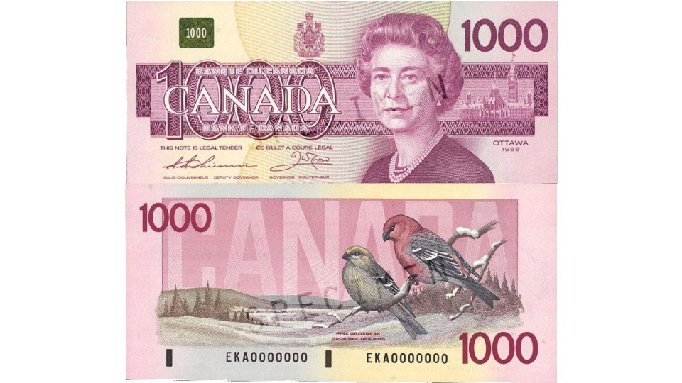 The most recent version of the $1,000 bank note is shown in this image from the Bank of Canada.