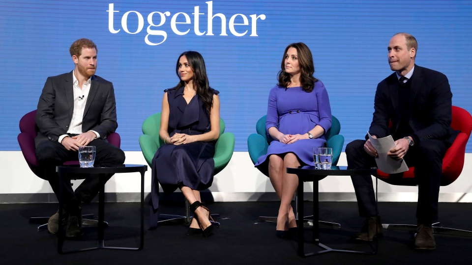 Prince William and Kate, Duchess of Cambridge, with Prince Harry, left, and his fiancee Meghan Markle, second left, attend the first annual Royal Foundation Forum in London, Wednesday Feb. 28, 2018. U (Chris Jackson/Pool via AP)