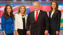 Ontario Conservative party leadership candidates Tanya Granic Allen, left to right, Christine Elliott, Doug Ford and Caroline Mulroney pose for a photo in TVO studios in Toronto on Thursday, February 15, 2018 following a televised debate. THE CANADIAN PRESS/Chris Young