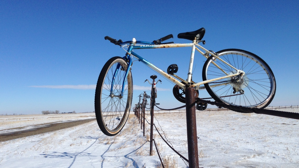 Bikes are shown on a fence near Carievale on Feb. 28, 2018 (Cole Davenport / CTV Yorkton)