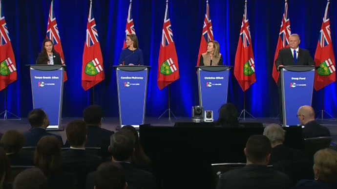 The Ontario PC leadership candidates face off in a debate in Ottawa on Feb. 28, 2018.