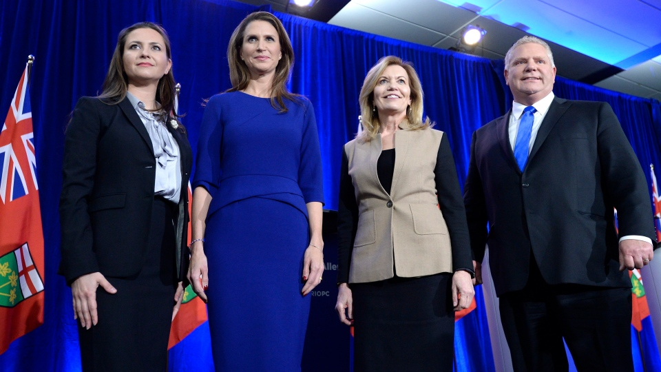 Ontario PC leadership candidates Tanya Granic Allen, Caroline Mulroney, Christine Elliott and Doug Ford pose for a photo after participating in a debate in Ottawa on Wednesday, Feb. 28, 2018. THE CANADIAN PRESS/Justin Tang