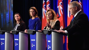 Ontario PC leadership candidate Christine Elliott speaks as candidates Tanya Granic Allen, left, Caroline Mulroney and Doug Ford participate in a debate in Ottawa on Wednesday, Feb. 28, 2018. THE CANADIAN PRESS/Justin Tang