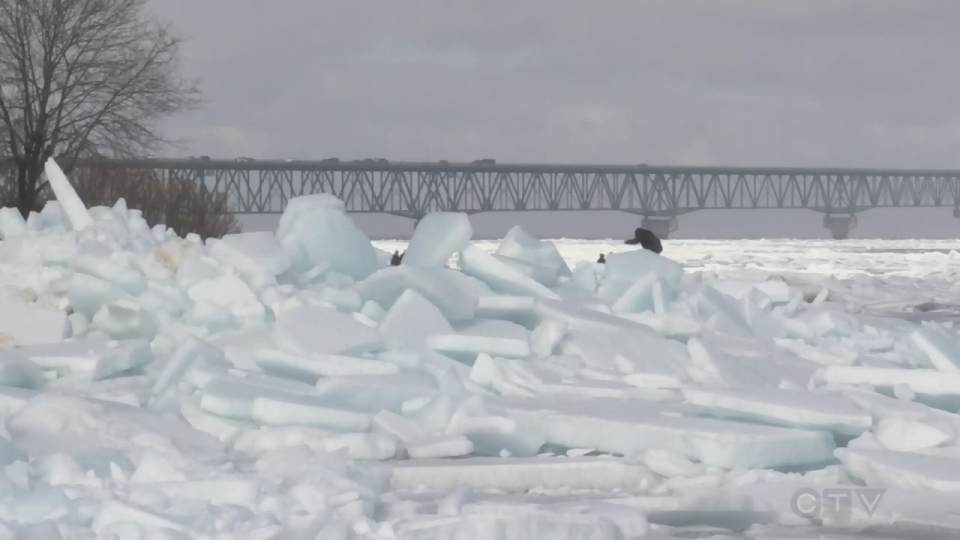 Ice chunks have formed and pile up on shore