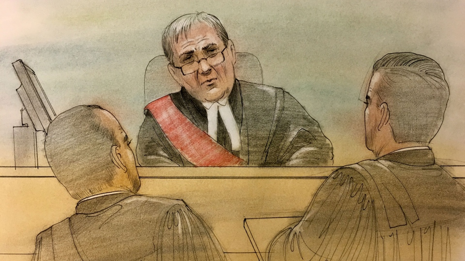 Superior Court Justice John McMahon in a Toronto courtroom for a long-delayed trial involving a multimillion-dollar financial scam. (Sketch by John Mantha)