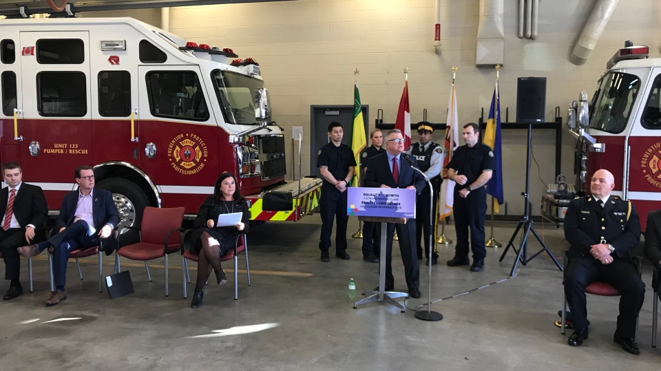 Public Safety Minister Ralph Goodale announces $30 million in PTSI funding for the University of Regina on March 2, 2018 (Colton Wiens / CTV Regina)