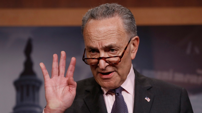 Senate Minority Leader Chuck Schumer, D-N.Y., introduces a three-point plan on guns that's supported by the Democratic Caucus, during a news conference at the Capitol in Washington, Thursday, March 1, 2018. (AP Photo/J. Scott Applewhite)