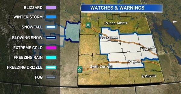 Environment Canada Southern Sask. snowfall warning