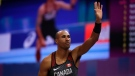 Canada's Damian Warner waves after an attempt in the men's pole vault of the heptathlon at the World Athletics Indoor Championships in Birmingham, Britain, Saturday, March 3, 2018. (Matt Dunham/AP Photo)