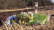 Memorial grows for Kaden Young, 11 days after he was swept into the Grand River. (CTV News/Mike Walker)