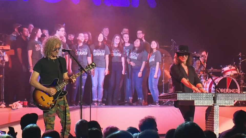 Students from Guelph Collegiate Vocational Institute sing with Foreigner at Centre in the Square on Sunday, March 4, 2018.
