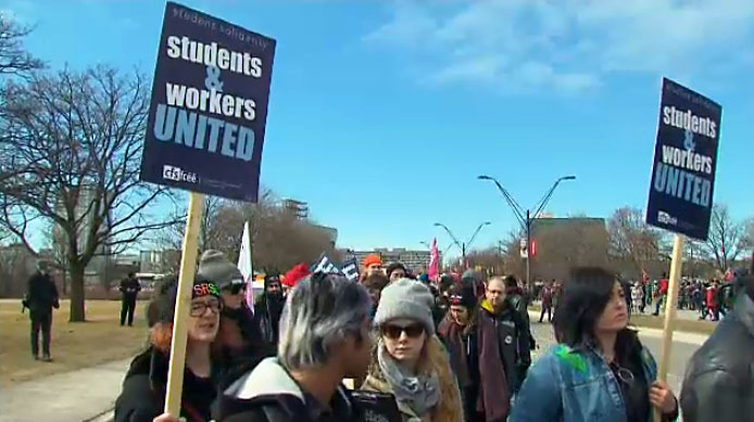 Contract faculty and other staff at York University hit the picket line on March 5, 2018 after talks broke down over the weekend.