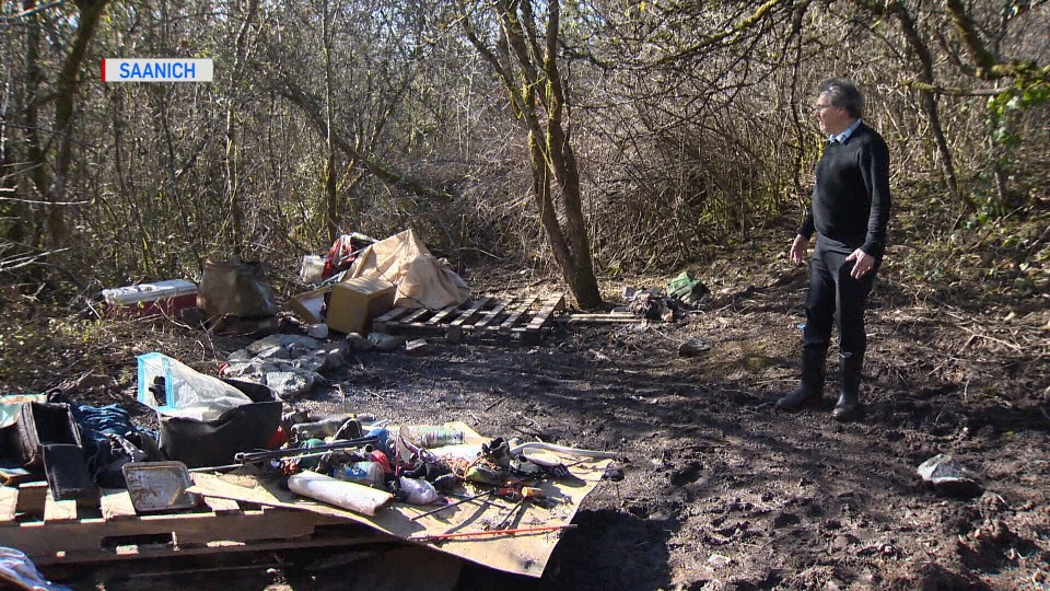 The Cuthbert Holmes Park campsite behind the Tillicum Recreation Centre is full of personal belongings and garbage that has caught the attention of locals. March 5, 2018. (CTV Vancouver Island)