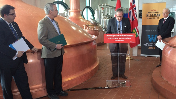 A press conference was held on Monday where the province announced funding for Sleeman Breweries Ltd. in Guelph.