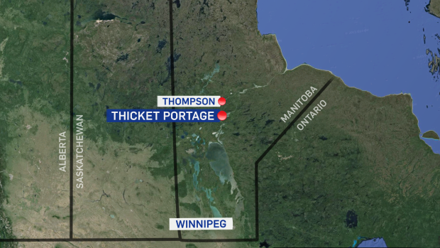 Thicket Portage map