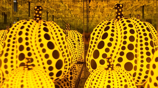 """A section of Yayoi Kusama's """"All the Eternal Love I Have for the Pumpkins, 2016,"""" is seen in the Art Gallery of Ontario's exhibition, """"Yayoi Kusama: Infinity Mirrors,"""" in Toronto on Tuesday, February 27, 2018. THE CANADIAN PRESS/Chris Young"""