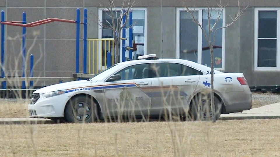 An RCMP cruiser is seen in front of the East Antigonish Education Centre in Monastery, N.S. in this March 6, 2018 photo. (CTV Atlantic)